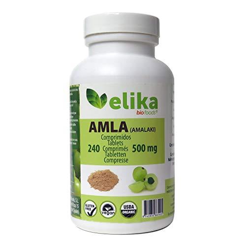 BIO Amla Elikafoods ORGÁNICA. 240 comprimidos de 500mg. Fortalecimiento del pelo y piel. Contiene vitamina C, minerales y antioxidantes. 100% natural, ecológica, vegana y sin gluten. Fácil ingestión.