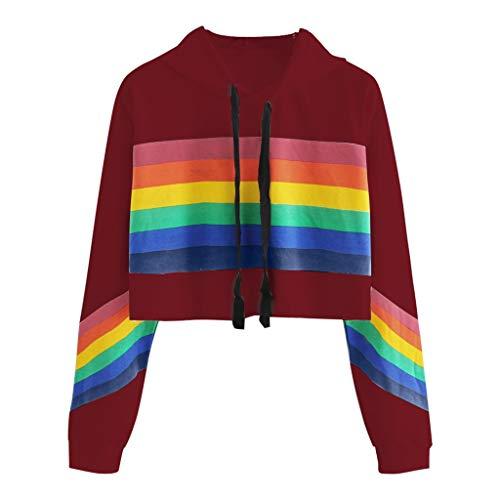 Sudadera Adolescentes Chicas Tumblr Impresión de Rayas Arcoiris - Sudaderas con Capucha Mujer Flojo Moda Simple - Fossen Casual Sweatshirt Hoodies Suéter