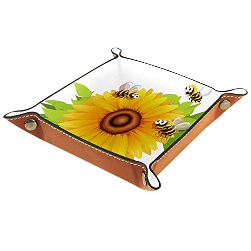 Bandeja de cuero sintético para mesita de noche, organizador de joyas para hombres, monedero, caja de monedas, bandeja de viaje de PU valet bandeja, abejas volando alrededor de girasol