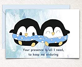 Penguins Snuggling Birthday, Love, Valentine's Day, Anniversary, Hand Drawn Original Poetry Greeting Card