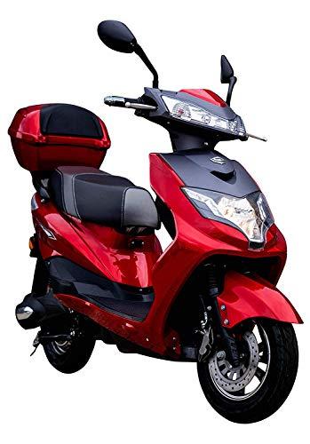 "Elektroroller\""Eagle\"", 2000 Watt, 60 km, 45 km/h, E-Scooter E Roller mit Straßenzulassung, inkl. Topcase, Rot/Schwarz"