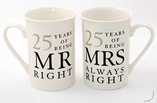 25. Jahrestag Geschenk 2er Set Porzellanbecher 'Mr Rechts & Mrs Always Right'