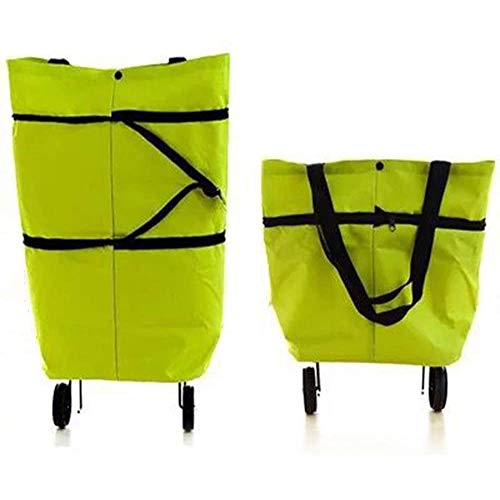 tellaLuna Simple and Fashionable Shopping Bag, Foldable Shopping Bag with Wheels, Suitable for Daily Use By Women, Green