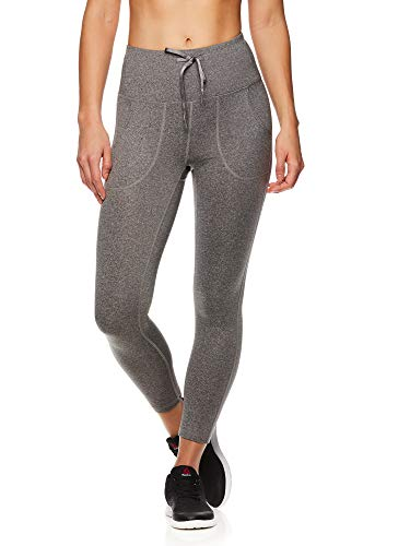 Reebok Women's Printed Capri Leggings with Mid-Rise Waist Cropped Performance Compression Tights - Momentum Flint Grey Heather, X-Large