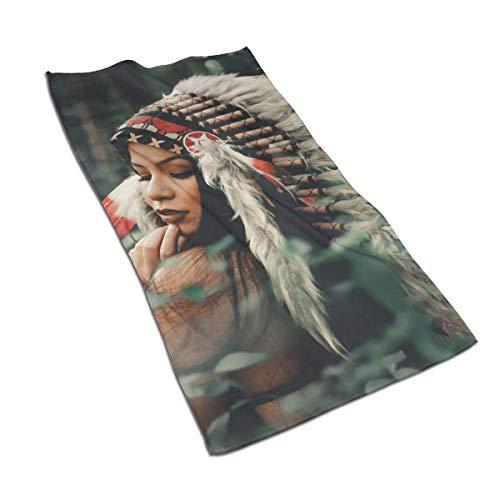 Hdadwy Serviette à Main Douce Serviette de Bain à Mise au Point sélective-Photographie-de-Femme-Portant-Native-American Serviettes de Bain Gant de Toilette pour Serviettes à Main Maison/Plage/Yoga