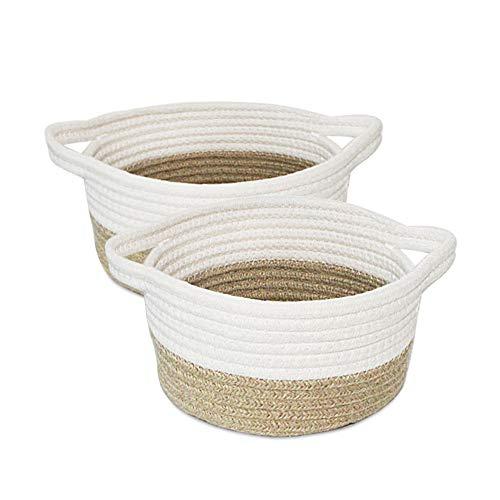 2 Pack Small Storage Baskets,Fruit Woven Basket,Desk Cotton Rope Basket for Keys,Sunglasses,Wallet,Shelf Basket for Kids Home Decor Toy Basket Organizers,Camel & White