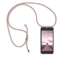 EAZY CASE Handykette kompatibel mit Apple iPhone 8/7 / SE (2020) Handyhülle mit Umhängeband, Handykordel mit Schutzhülle, Silikonhülle, Hülle mit Band, Stylische Kette für Smartphone, Rosé-Gold