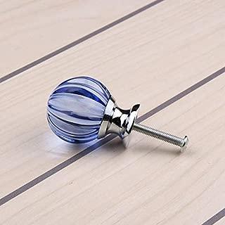 2018 Hot Sale 30mm Sky Blue Crystal Pumpkin Ball Glass Drawer Handles Kitchen Dresser Door Knobs Closet Decoration YZ-2012 - (Color: sea blue)