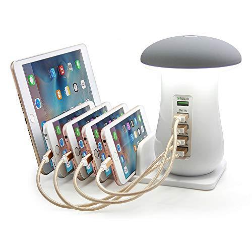 Hirido - Cargador rápido USB con 5 puertos Hub adaptador de cargador QC 3.0 con lámpara de noche LED de escritorio para teléfono móvil Apple iPhone y dispositivos Android (55W)