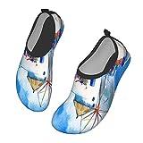 Nicokee Acuarela tradicional griego patio agua zapatos flores molino de viento Santorini paisaje playa Aqua Yoga calcetines para hombres mujeres, color, talla 43.5 EU