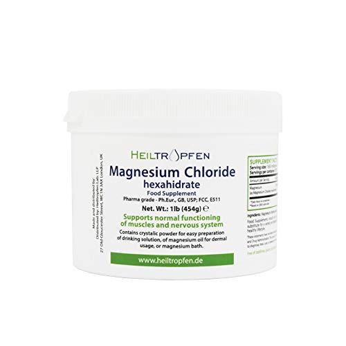 Heiltropfen Cloruro di magnesio, 454g, esaidrato, di Grado farmaceutico, Polvere di Cristallo, Puro PH EUR, BP, USP, 100% commestibile -Muscolare Sollievo dal Dolore