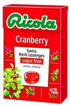 Ricola Swiss Herb Herbal Candy Sugar Free Cranberry Flavor, Swiss herb lozenges 40g. ( Pack of 6 )