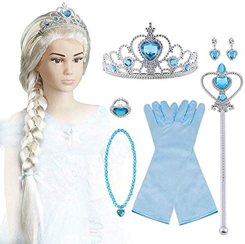 Vicloon ELSA Eisprinzessin Set of 7 ,ELSA Handschuhe,Upgrade Prinzessin Tiara Braid,Zauberstab Mädchen and Prinzessin Krone Ohrringe Ringe