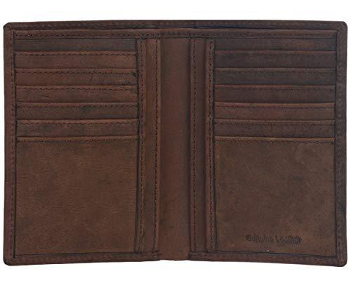 Eono by Amazon - Cartera de Cuero para Mujer y Hombre con diseño Plano y protección contra Lectura RFID (marrón Vintage/Cuero de Aspecto gastado) (Cuero marrón Vintage/Aspecto Usado)