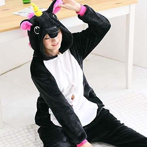 Unisex Schlafanzug Black Onesie Winter Hoodie Pyjamas Cosplay Erwachsene Onesies Weihnachten Pyjama Carnival Kostüm Kostüm Jumpsuit (Color : Black, Size : XL)
