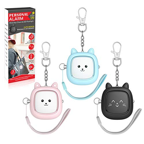 Safe Sound Personal Alarm 3 Pack 130 dB Loud Siren Song Emergency SelfDefense Security Alarm Keychain with LED Light Personal Sound Safety Siren for Women Men Children Elderly Blue/Pink/Black