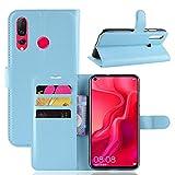 pinlu® PU Leder Tasche Handyhülle Für Huawei Nova 4 Smartphone Wallet Hülle Mit Standfunktion & Kartenfach Design Hochwertige Ledertextur Blau