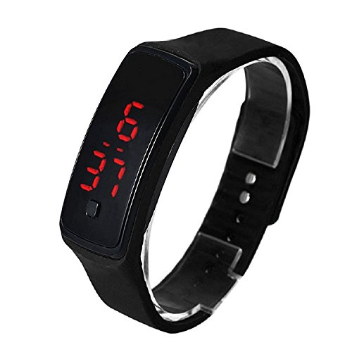 Digital LED Reloj de Pulsera - SODIAL(R) Moda Ultra-Delgada Chica Hombres Silicona Digital LED Deportes Reloj de Pulsera (Negro)