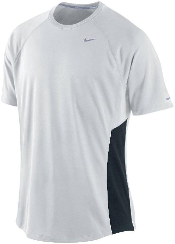 Nike Mens Miler UV Short Sleeved Running Top White Black