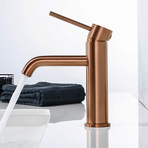 Synlyn Grifo de baño Grifo de lavabo de oro rosa Grifo mezclador de lavabo alto de una manija Grifo de baño Mezclador de una sola palanca - Estilo moderno