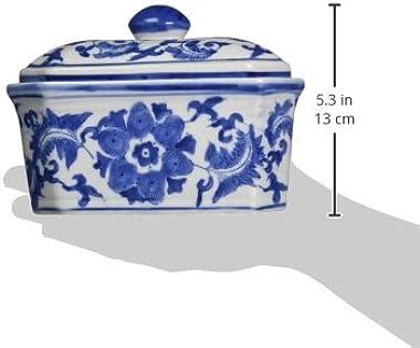 """Oriental Furniture 8"""" Floral Blue & White Porcelain Covered Jar"""