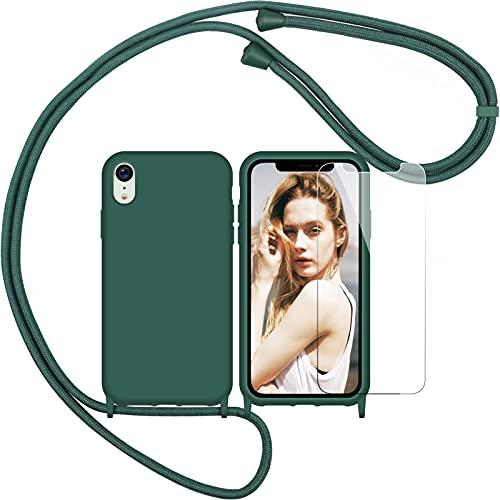 Nupcknn Funda Silicona con Cuerda para iPhone XR y Protector Pantalla, Carcasa Suave Silicona Case con Correa Colgante Ajustable Collar Correa de Cuello Cadena Cordón(Verde)