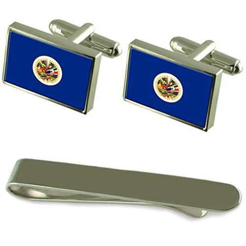Select Gifts Oea (Organisation Internationale) Drapeau de manchette en argent gravé Cravate Cadeau