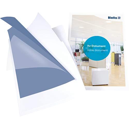 Biella 5er Pack Premium Organisationsmappe Vista für DIN A4 Mappe mit Sichttasche oben und seitlich offen mit Griffausstanzung weiß ideal für Angebots- und Unternehmenspräsentationen SWISS MADE