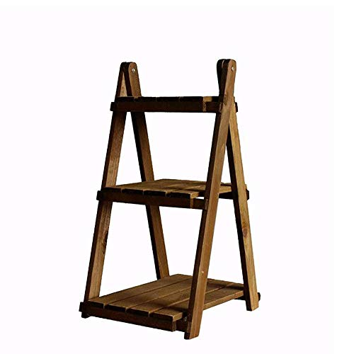 JCNFA Planken Vintage Effen Houten Ladder Boekenkast Plank, Bureaublad/Plant Vloerstandaard, Verwijderbare Montage, Trapeziumvormige Drie-laags Decoratief Rack