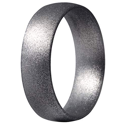 ThunderFit Silicone Ring Wedding Band for Men & Women - 1 Ring (Bright Silver, 8.5-9 (18.9mm))