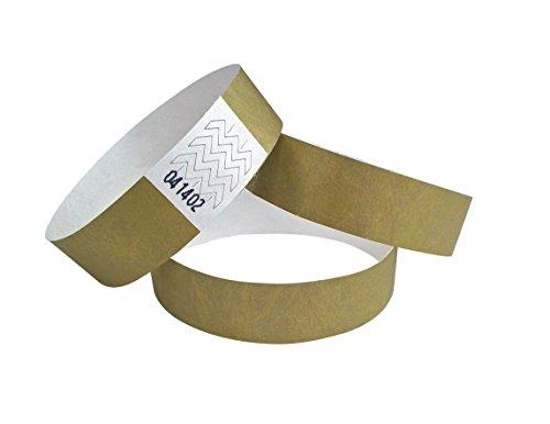 ID-ACC. Tyvek Lot de 100 bracelets d'entrée 19 couleurs au choix, 504-100, - Doré
