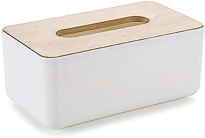 ティッシュケース ティッシュペーパー ホルダ 長方形木蓋 卓上収納ケース ホワイト