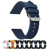 Fullmosa 8 Colores Correa de Reloj de Silicona de Liberación Rápida, Pulsera de Arco Iris de Goma Suave con Hebilla de Acero Inoxidable 18 mm 20 mm 22 mm 24 mm, Azul Oscuro, 22mm