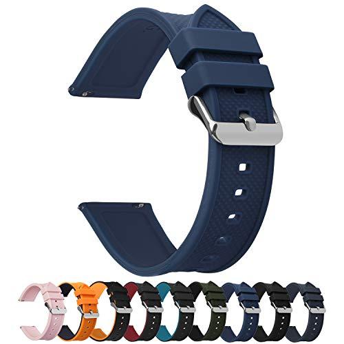 Fullmosa 8 Colores Correa de Reloj de Silicona de Liberación Rápida, Pulsera de Arco Iris de Goma Suave con Hebilla de Acero Inoxidable 18 mm 20 mm 22 mm 24 mm, Azul Oscuro, 20mm