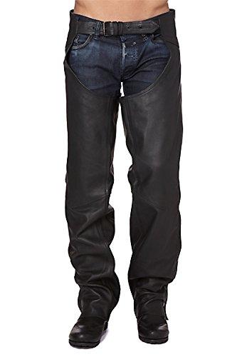 KENROD Chaps de cuero para motos Cubre pantalón zajón de piel suave Color negro Talla XL