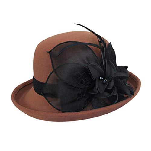 Yue668 Sombrero de pescador salvaje, sombrero alto con forma de flor negra, sombrero de pintor de estilo francés vintage cálido, poliéster, café, 56-58cm/22-22.8IN