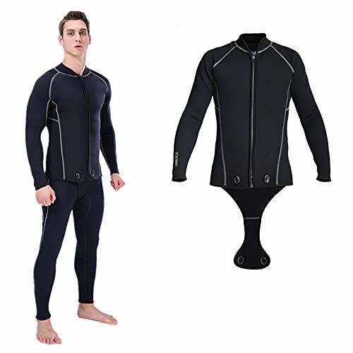 XINJIABAO Chaleco de neopreno de 3 mm de manga larga/camiseta sin mangas de 3 mm con cremallera frontal para deportes de buceo, surf, natación, esnórquel (color negro, tamaño: pequeño)