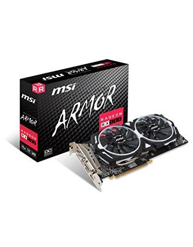 MSI Radeon RX 580 Armor OC 4GB AMD GDDR5 2x HDMI, 2x DP, 1x DL-DVI-D, 2 Slot Afterburner OC, Millitary Class 4,  Grafikkarte