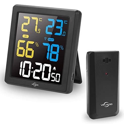 VIFLYKOO Termometro Igrometro Digitale Interno Esterno, Digitale termometro con Sensore,Display a Colori Termometro Digitale Igrometro e Display del Tempo,Scelta Ideale per Ufficio, Casa, Stanza