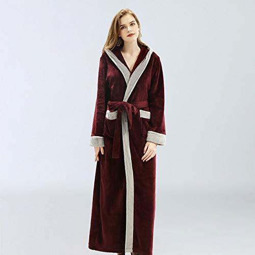 SDCVRE Pijama camisón de Invierno,camisón de Mujer Nuevo con Capucha otoño e Invierno Ropa de Dormir por la mañana Robe Conjunto de Pijama Largo para Mujer Ladies Femme Mujer Cinco Colores, Rojo Vin