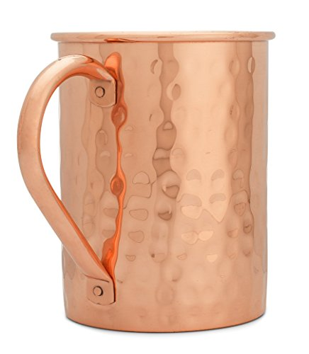 100% Pure Copper Moscow Mule Mug (16 oz Hammered) Premium Handcrafted Quality with No Inside Liner Plus Bonus Ebook