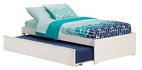 Atlantic Furniture Concord Platform Bed with Twin Size Urban Trundle, Twin, White