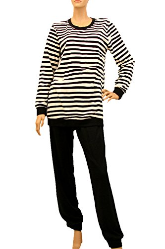 Nanso Stratum Schlafanzug Pyjama Hausanzug langer Arm Gr. S L (34-36 / S, Naturweiss-Schwarz)