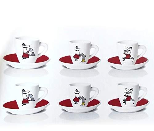 Bialetti Y0TZ989 6er Set Espressotassen mit Untertasse, Porzellan, rot, 23.7 x 14 x 7 cm, 6-Einheiten