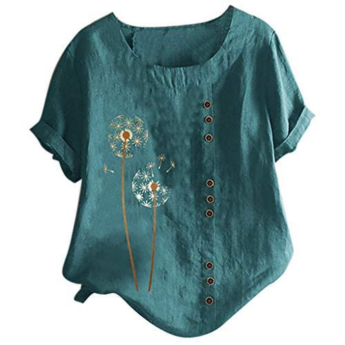Piabigka Donna Camicette Manica Corta Estivi Elegante Tshirt Tops Camicia Casual Bottone Blusa
