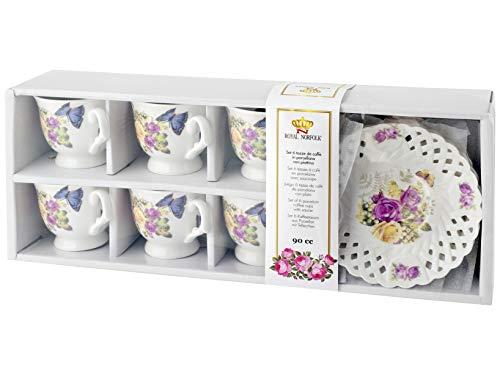 Royal Norfolk 725395 - Juego de 6 tazas de café, porcelana, diseño de rosas con plato