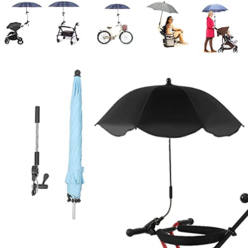 Upwsma Paraguas portátil plegable con abrazadera universal, SPF 50+ paraguas ajustable para...
