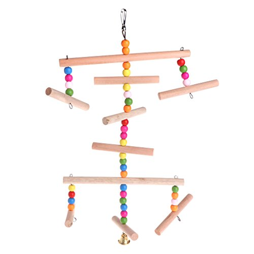 Simplelife Huisdier vogel benodigdheden Verkoop Papegaai Perch Multi Layer Swing Bell Speelgoed Houten Hangende Kooi Vogels Huisdieren