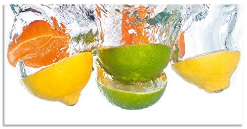 Artland Spritzschutz Küche aus Alu für Herd Spüle 100x50 cm Küchenrückwand mit Motiv Essen Obst Früchte Zitrone Orange Limette Bunt Modern Hell S6EL