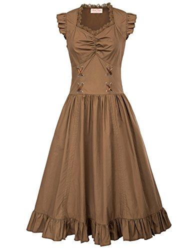 Belle Poque Victorian Gothic Renaissance Maxikleid Empire Kleid Stretch Tailliert Kleid